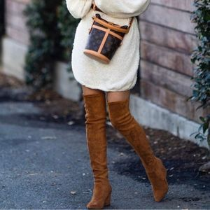 Maje Fuisy Cognac Suede Over the Knee Boots 37